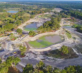 Aerial photograph of the Ocala recharge park under construction