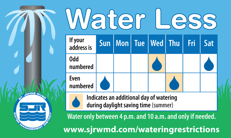 Water less watering restrictions sticker graphic