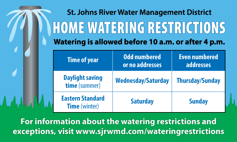 Home watering restrictions magnet graphic