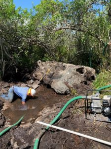 A workman clears debris from the site of a free-flowing well to prepare to plug it.