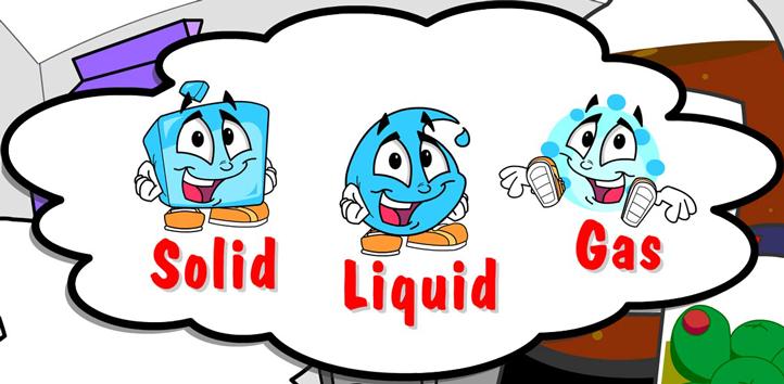 Illustration of the three states of matter