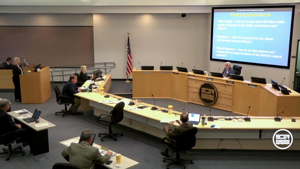 Dr. Shortelle leading a Governing Board presentation