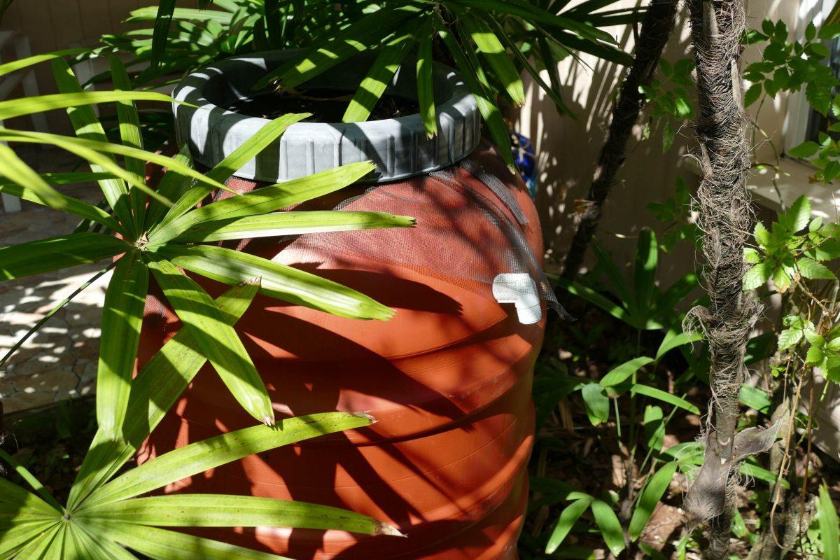 An orange rain barrel tucked away in brush