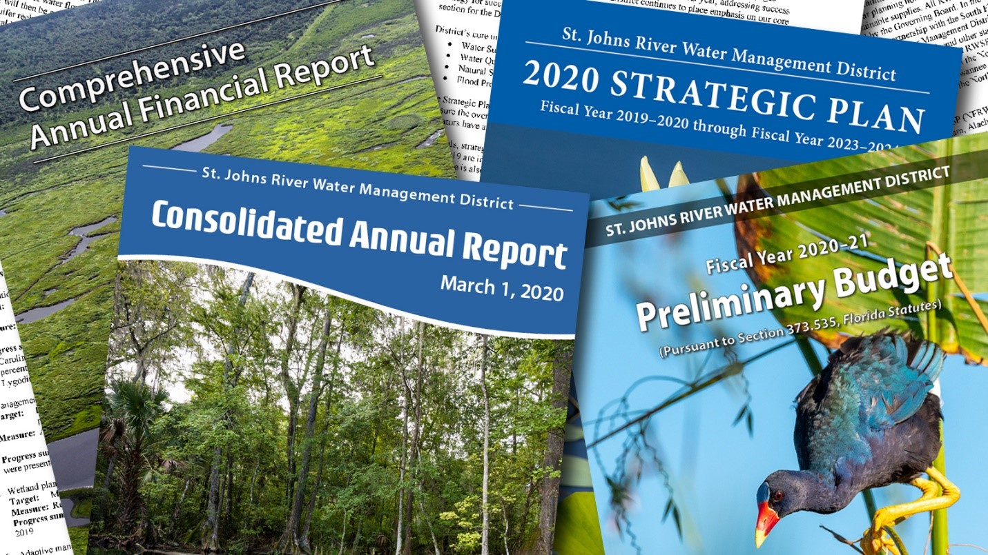 Collage of district reports and documents