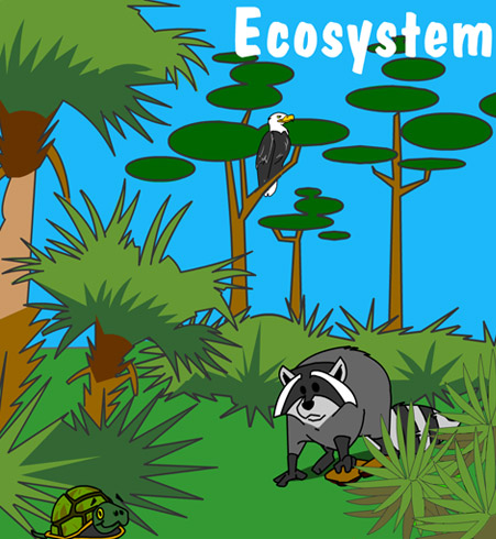Illustration of animals and plants in an ecosystem