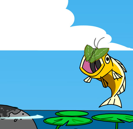 Illustration of a fish eating a moth