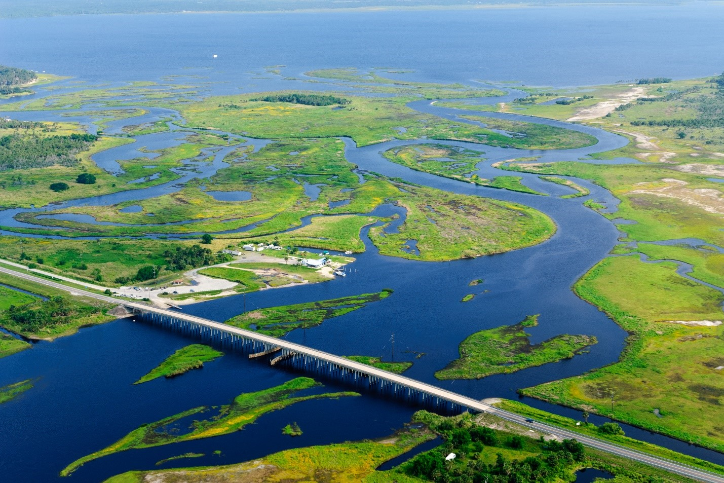 Aerial photo of St. Johns River flowing into Lake Harney