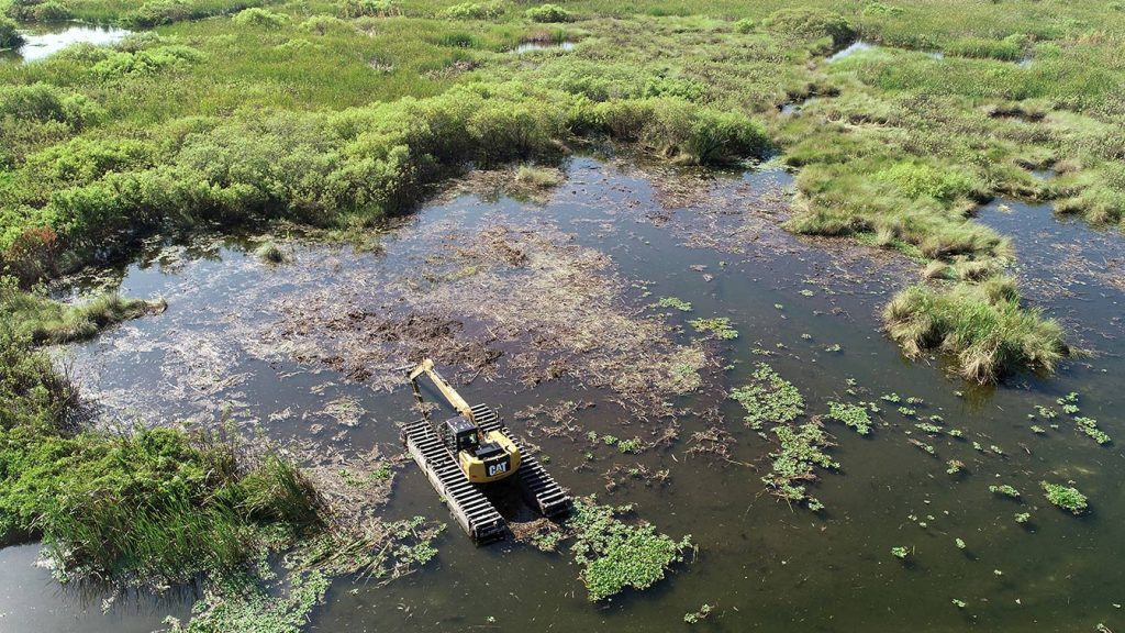 A District contractor uses an amphibious long-reach excavator to harvest nuisance plants