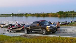 Boat being launched at Headwaters Lake Boat Ramp