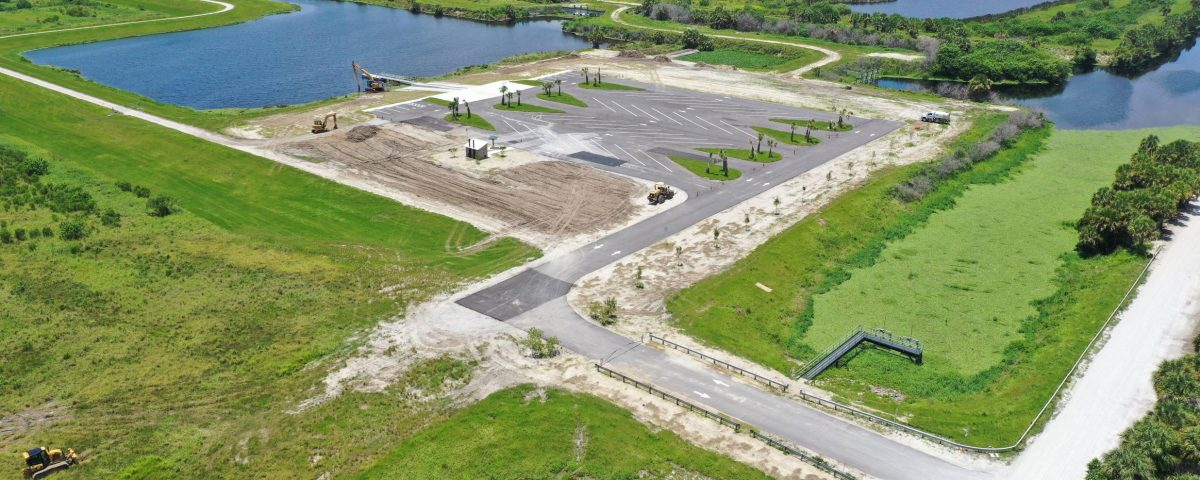 Aerial view of Headwaters Lake Boat ramp parking lot