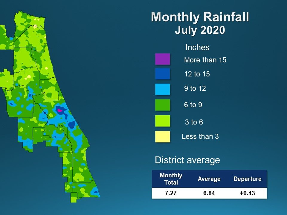 A map illustrates rainfall conditions in July across the St. Johns River Water Management District