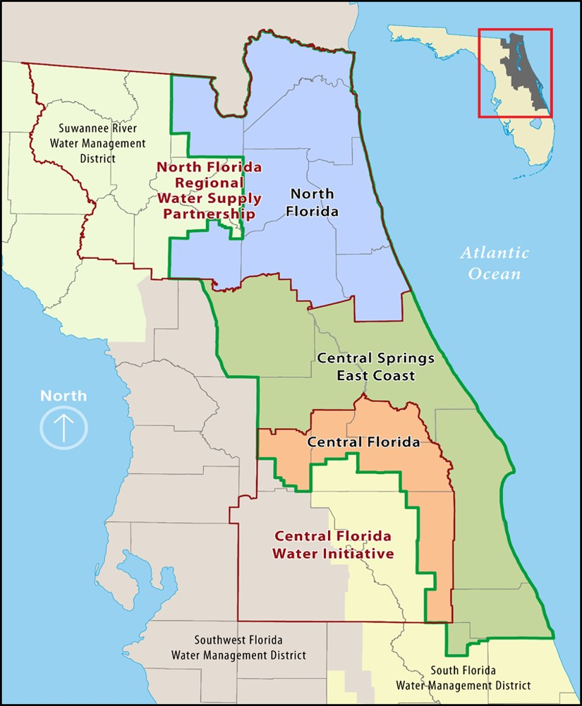 Map of three SJR planning regions