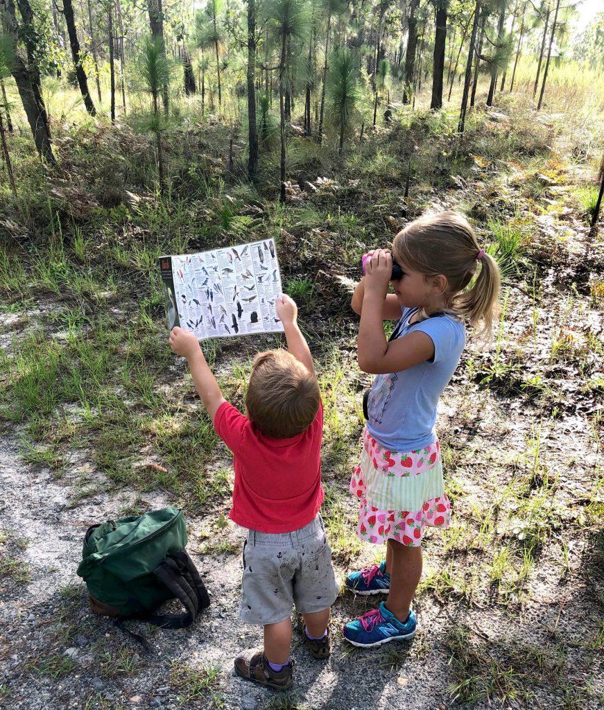 Boy and girls birding
