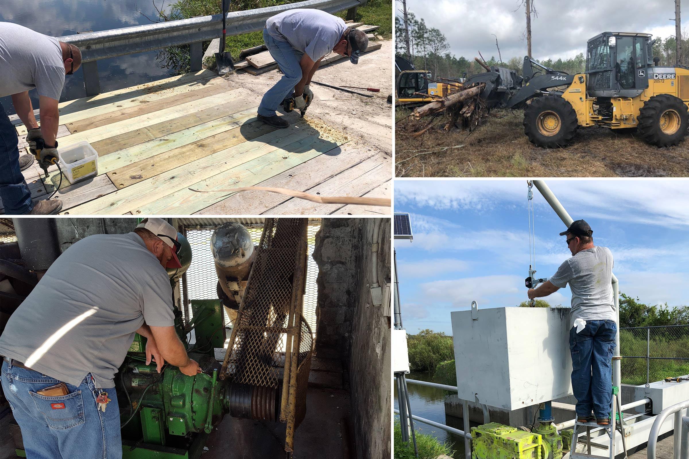 District staff working on a wooden bridge