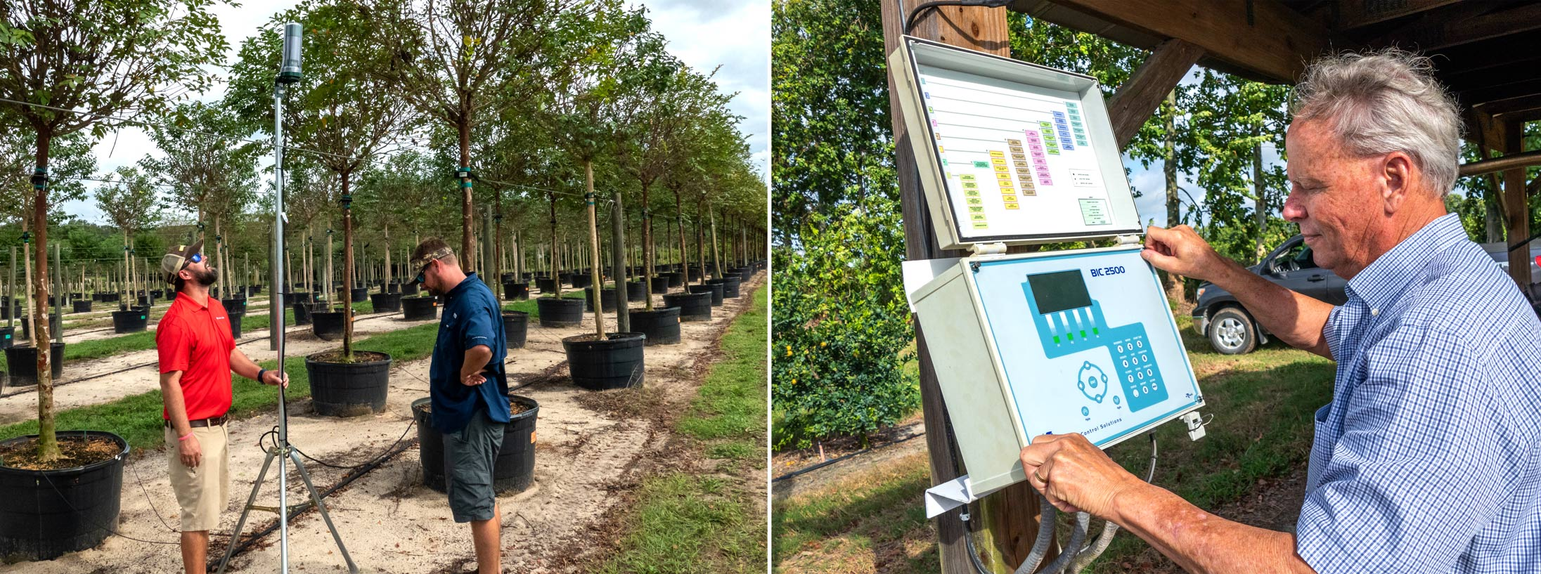 Todd Gentry, left, and Austin Spivey of Cherrylake in Groveland monitor irrigation and fertilization equipment at the ornamental tree farm. At right, Indian River County citrus grower Cody Estes monitors a weather station at his grove.