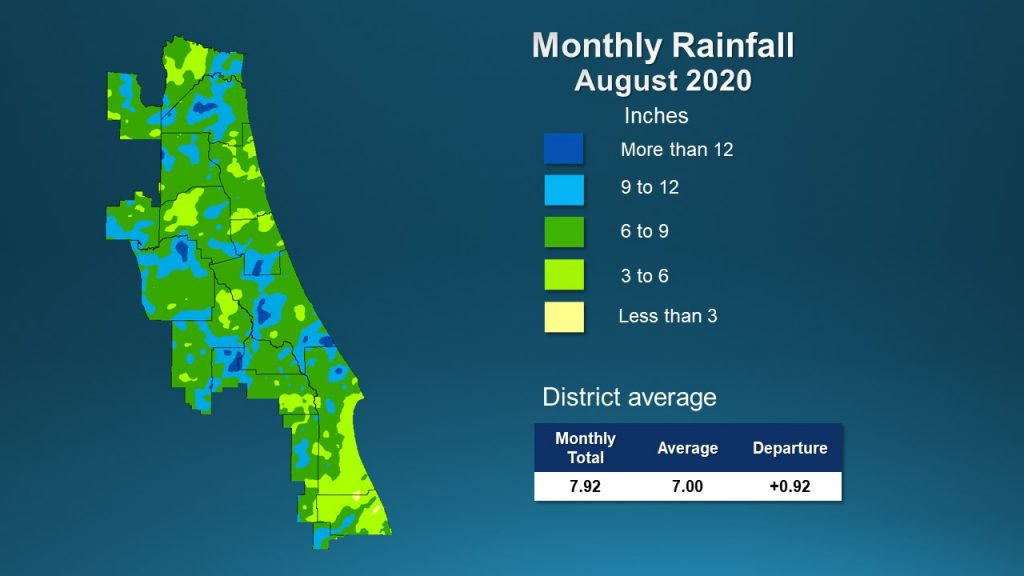 A map illustrates rainfall conditions in August