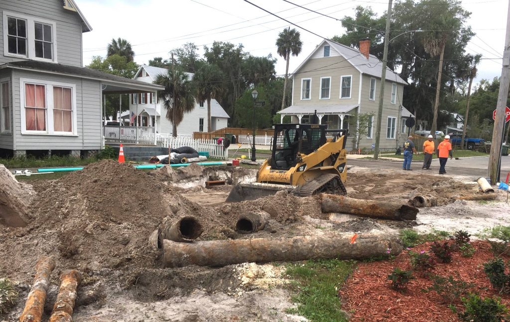 Palatka work crews replace ancient water pipes in a neighborhood.