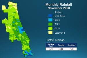 A map illustrates rainfall conditions in November across the St. Johns River Water Management District