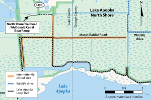 map of Marsh Rabbit and North-South roads in North Lake Apopka