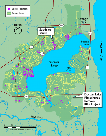Map of the Doctors Lake restoration projects