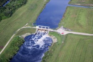Aerial view of a District flood control structure.
