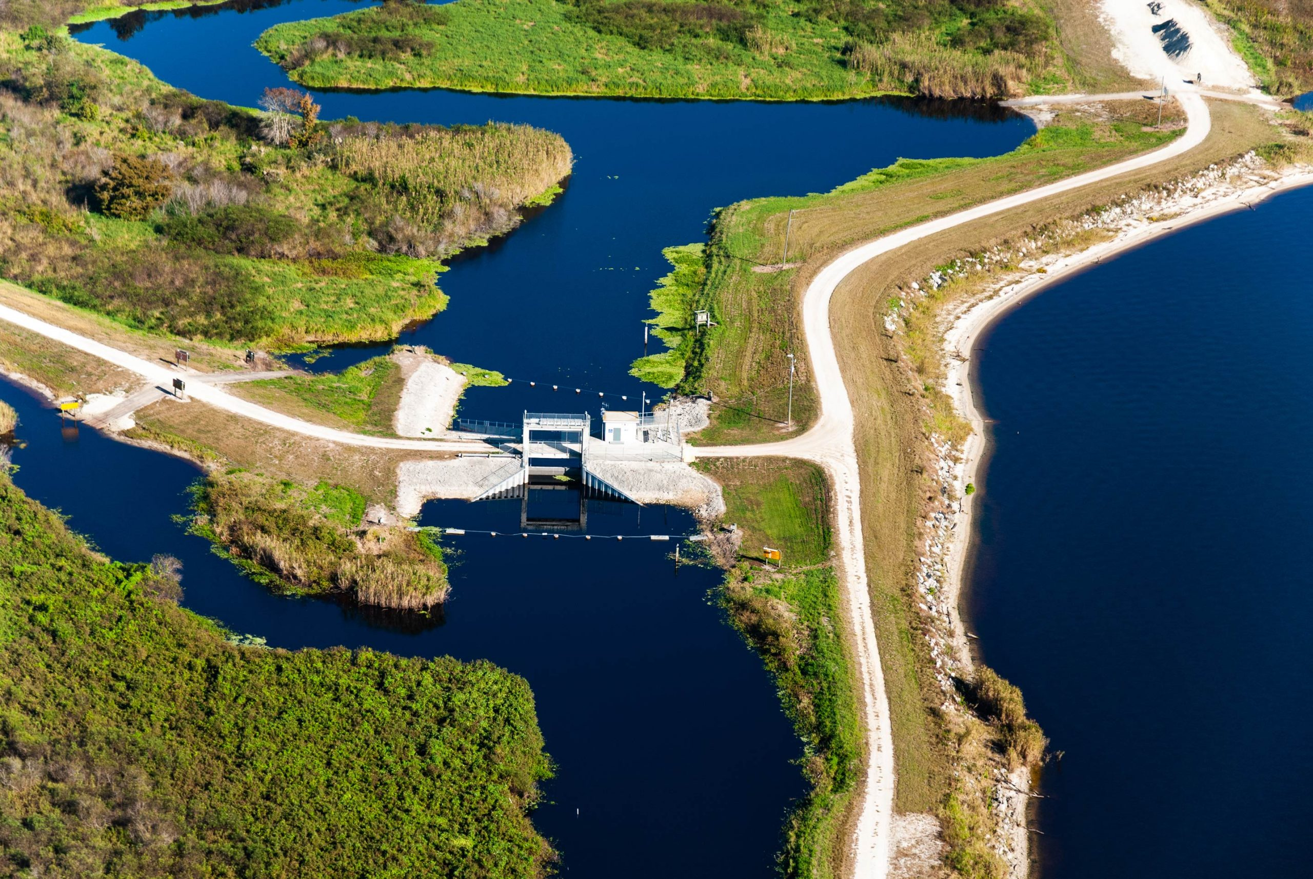 Aerial view of a water control structures in the Upper St. Johns River Basin Project