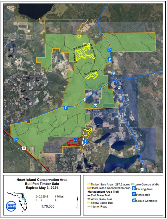 Map of Heart Island conservation area timber sales, emphasizing Bull Pen road