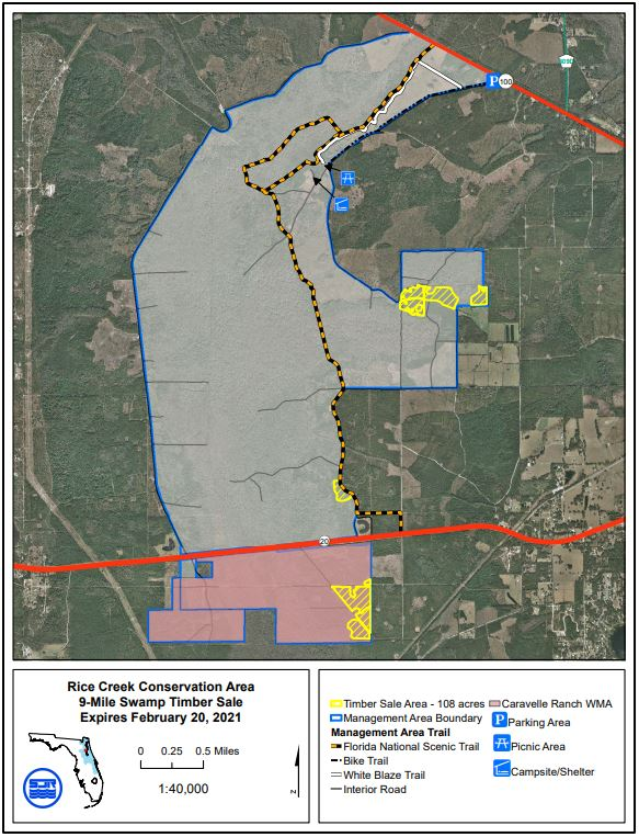 Map of Rice Creek conservation area timber sales