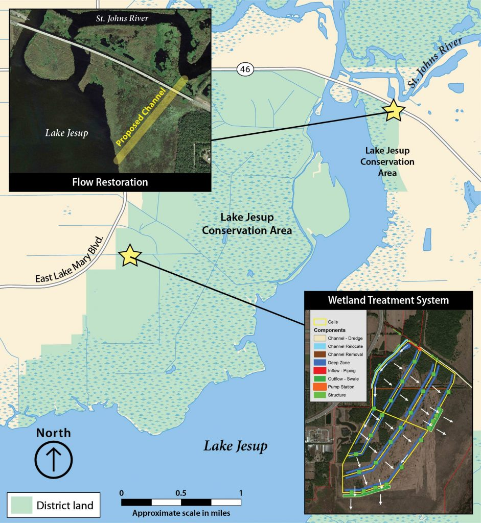 Map of Lake Jesup with stars marking features locations