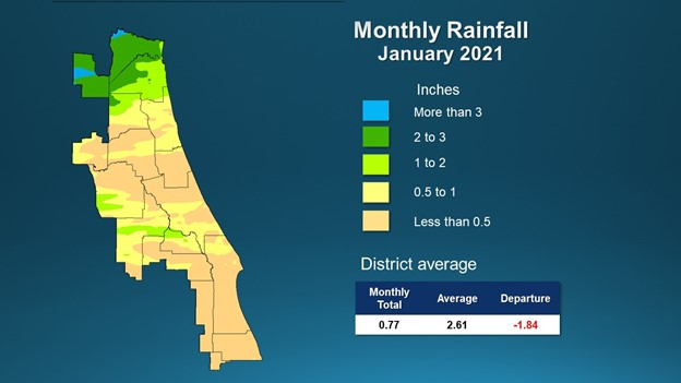 A map illustrates rainfall conditions in September across the St. Johns River Water Management District.