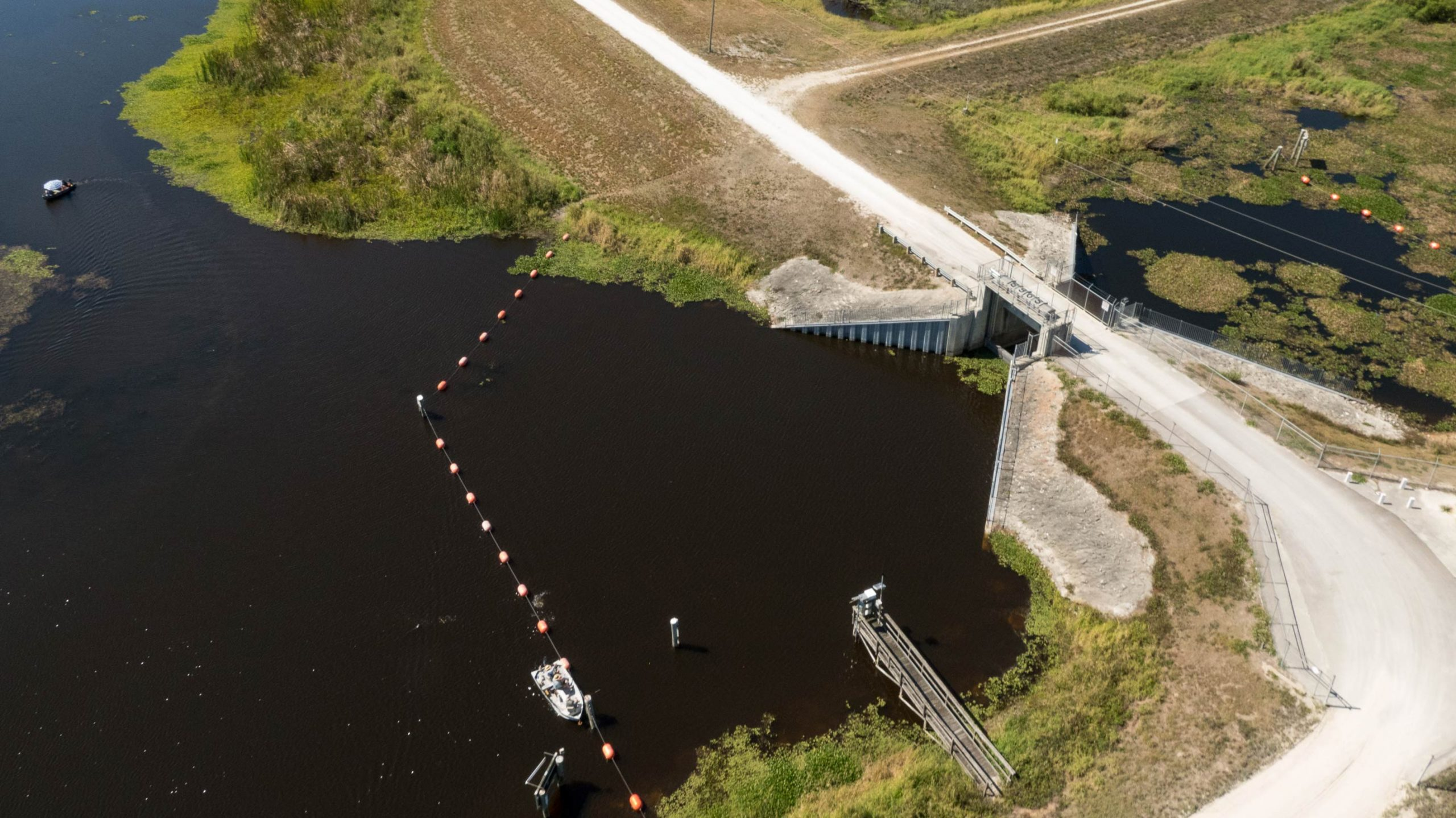Aerial view of the S-96B water control structure