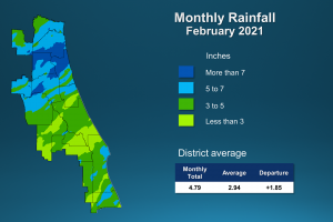 An illustrated map of rainfall