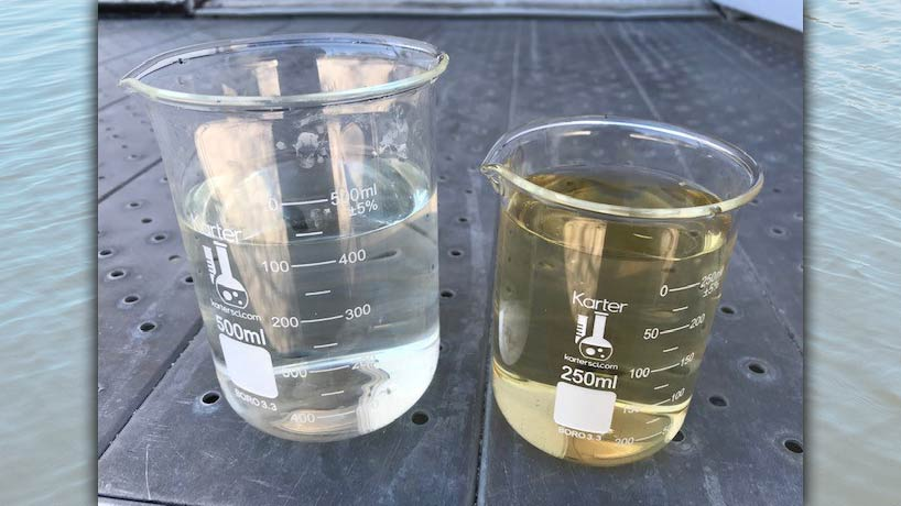 A side-by-side comparison of a post-treatment sample collected (left) shows a clear color improvement from the raw sample.