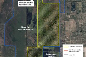 Map of Three Forks Conservation Area with indication of burn area