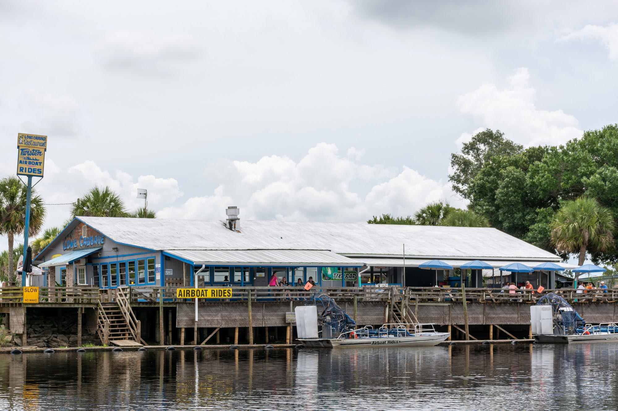 A view of a fish camp from the water