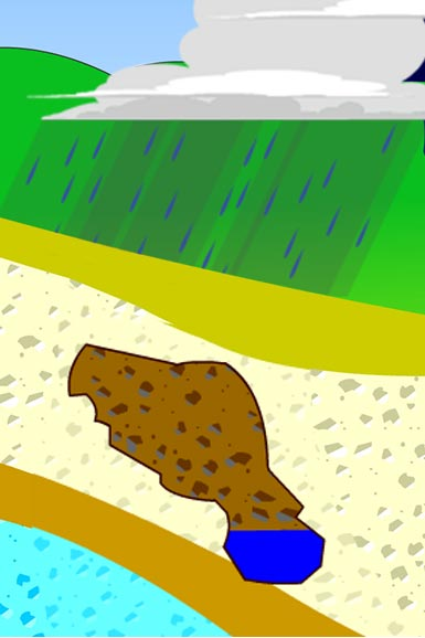 Illustration of rain water filling an underground cavern