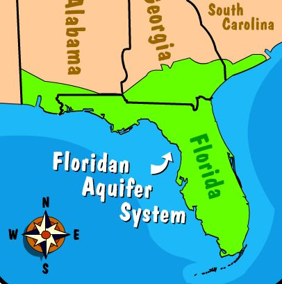 Illustration of a statue with Florida's flag coming out of it