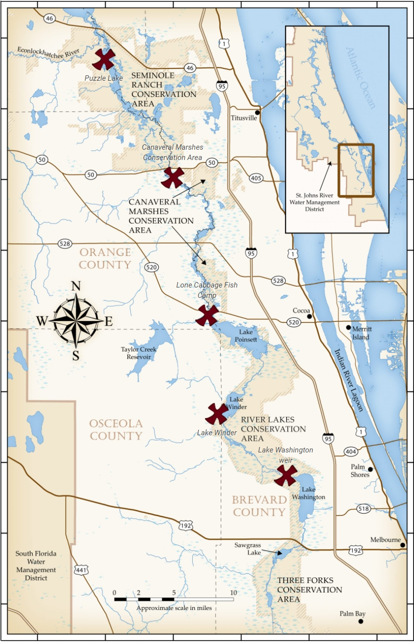 Map if the St. Johns River Upper bank