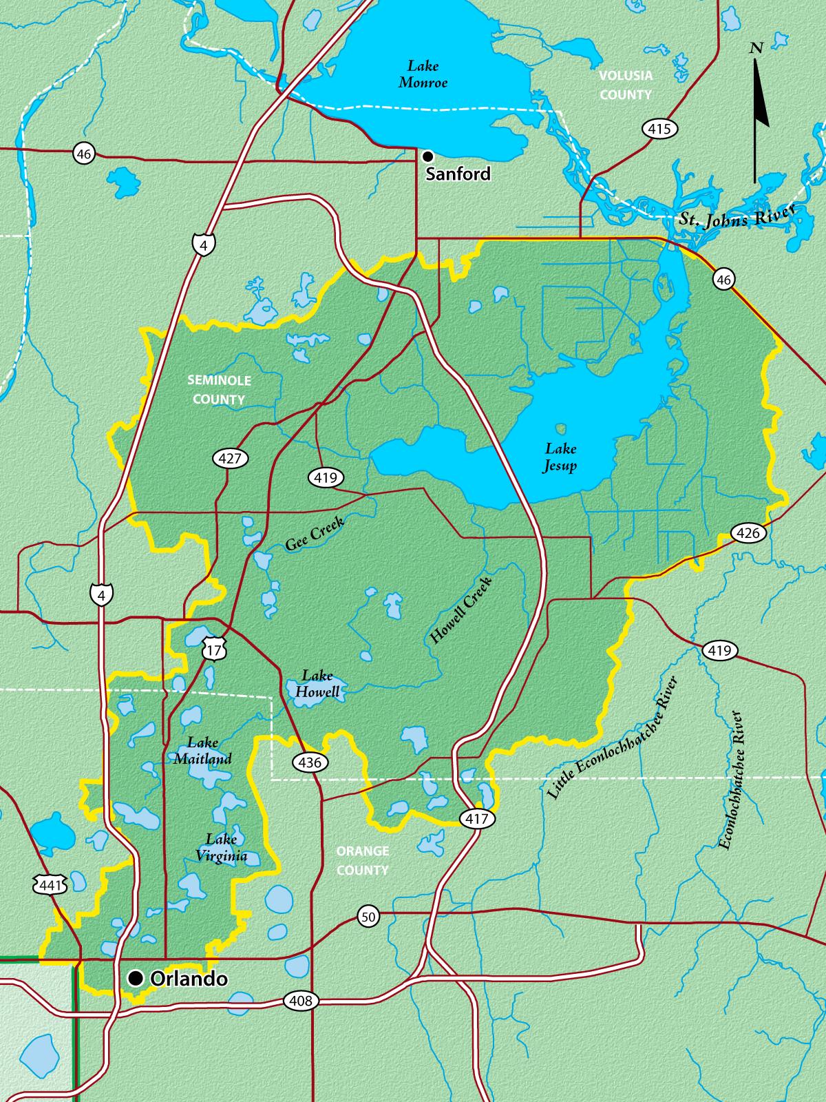 Map of Lake Jesup