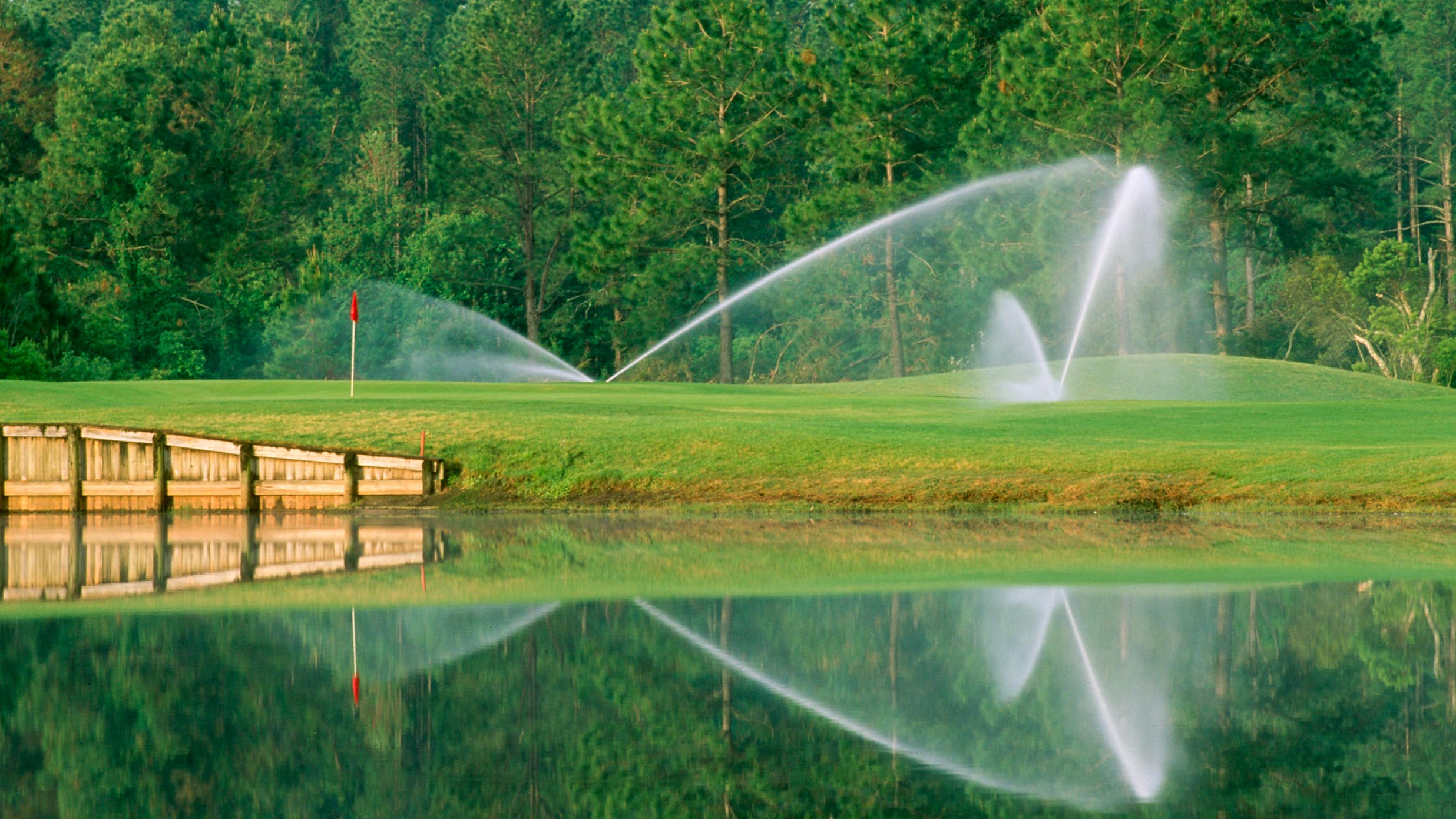 Sprinklers spraying water on a golf coarse