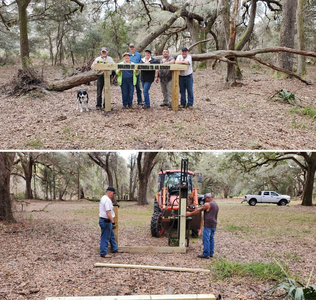 Members of the Altoona Trail Riders install hitching posts