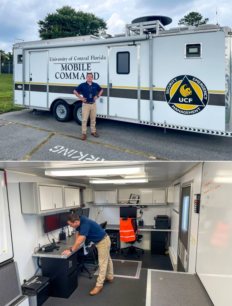 Brent Saulsbury inspects two radios in the command trailer