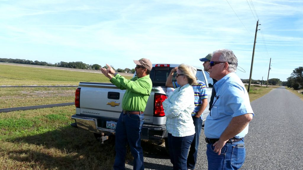 District employees looking at a field