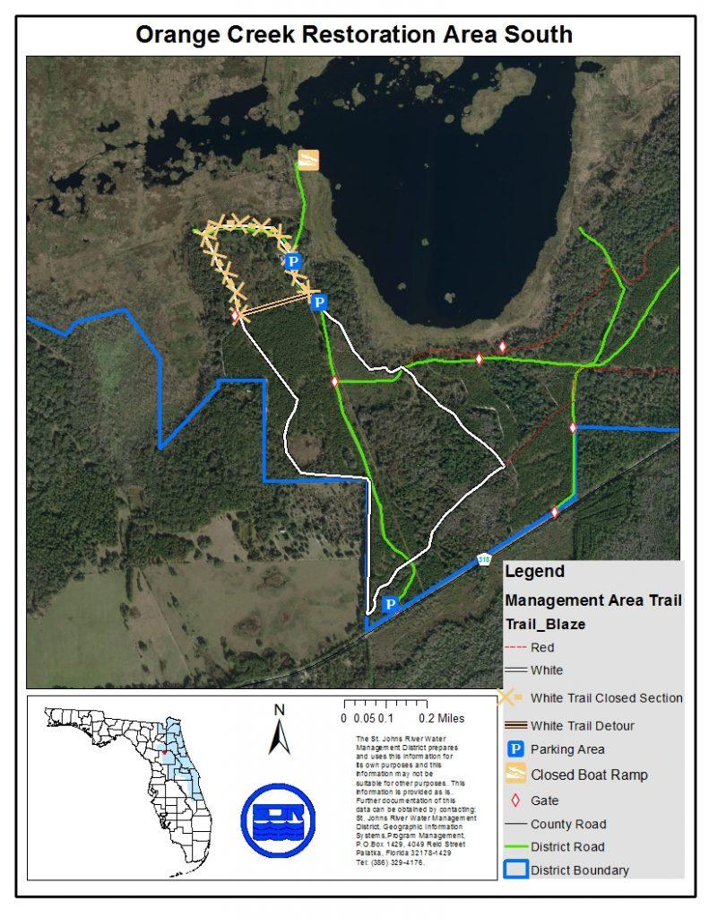 Map of Orange Creek Restoration Area