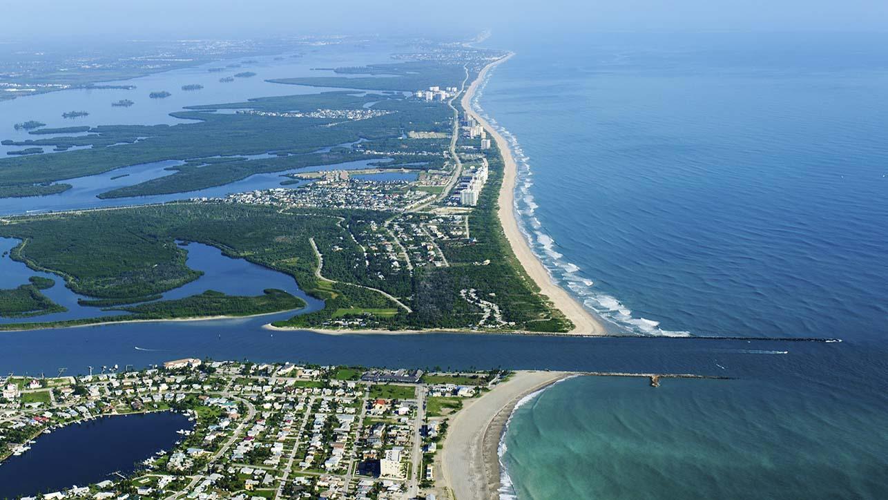 Aerial view of a Florida coastline