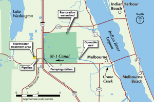 Illustrated map of Crane Creek / M-1 Canal project