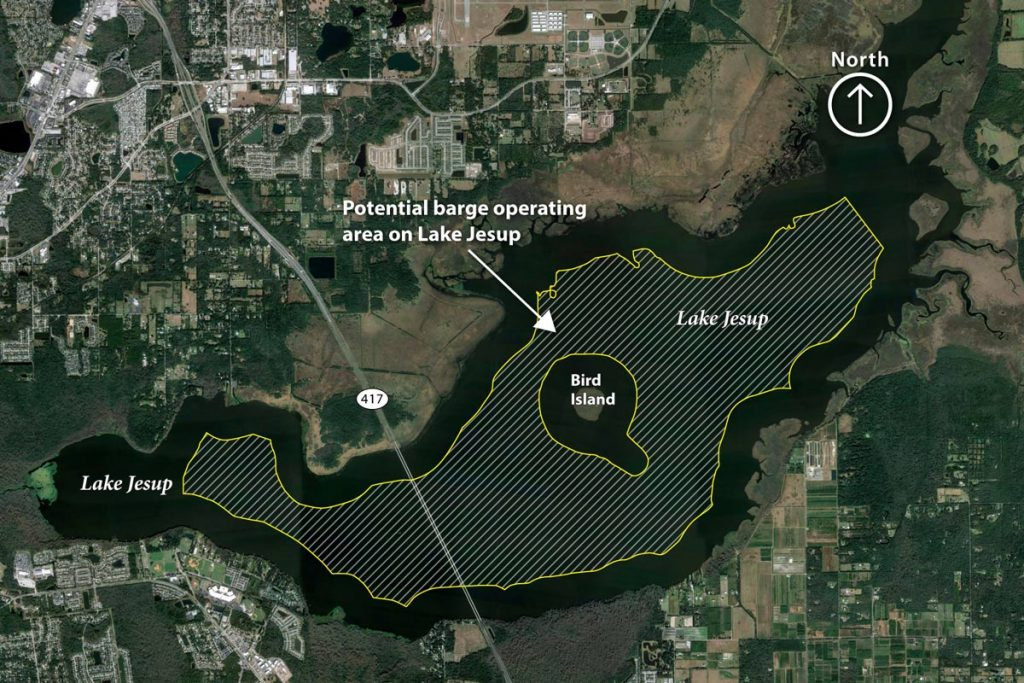 Map showing a lake Jesup project