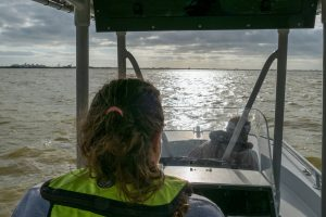 District staff on the Indian River Lagoon in a boat