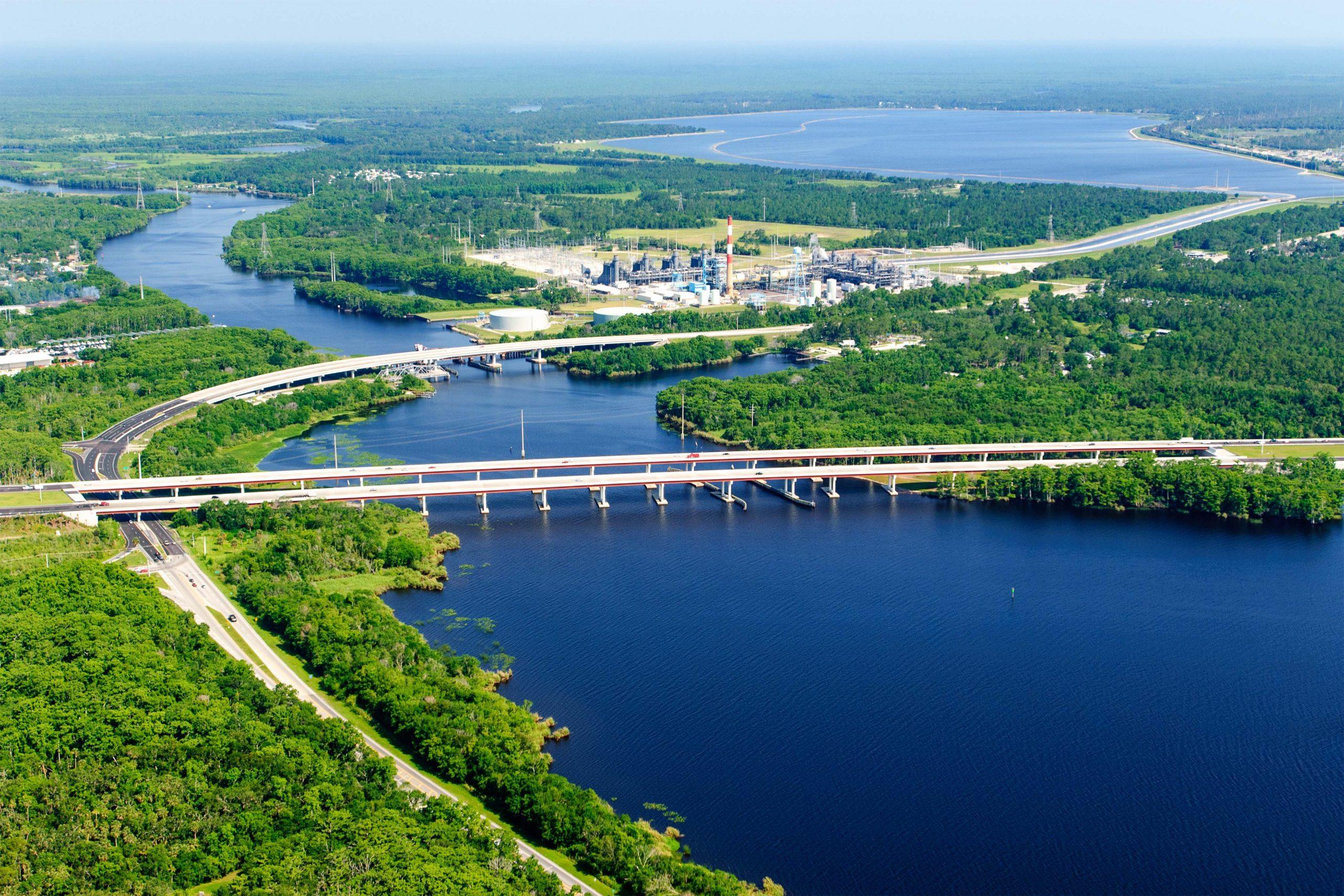 Interstate 4 crosses Lake Monroe where it meets the St. Johns River