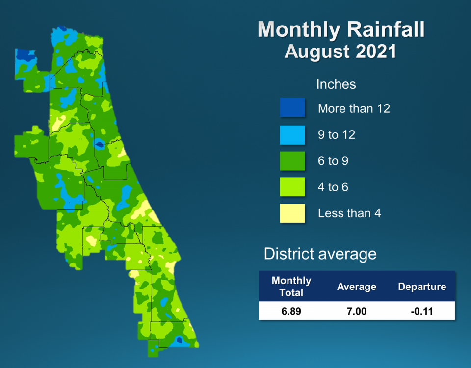 Map and table showing rainfall in August 2021